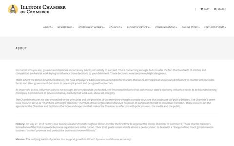 Screenshot of About Page ilchamber.org - About The Illinois Chamber of Commerce - captured Oct. 11, 2018