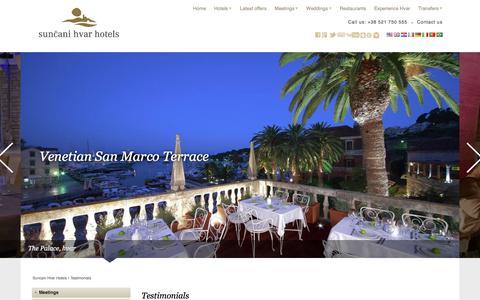 Screenshot of Testimonials Page suncanihvar.com - Meetings & Events | Suncani Hvar Hotels - captured Sept. 24, 2018