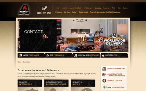 Screenshot of Contact Page acucraft.com - Contact Acucraft - Your Fireplace Manufacturer | Gas, Wood, & Propane - captured Oct. 3, 2018