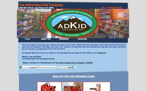 Screenshot of Home Page adirondackid.com - Toys, Toystore, Patagonia Kids, Lake Placid, Whiteface Mountain, New York, Kids Clothes - captured Oct. 8, 2014