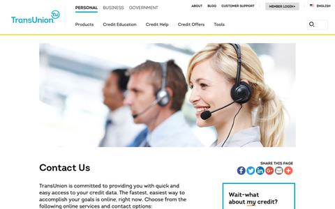 Screenshot of Support Page transunion.com - Contact Us | TransUnion.com - captured Oct. 24, 2018
