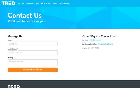 Screenshot of Contact Page tred.com - Contact | TRED - captured March 1, 2019