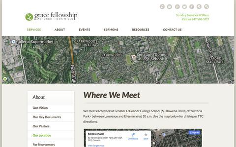 Screenshot of Maps & Directions Page gfcdonmills.ca - Grace Fellowship Church: Toronto, Canada > Where We Meet - captured Sept. 7, 2017