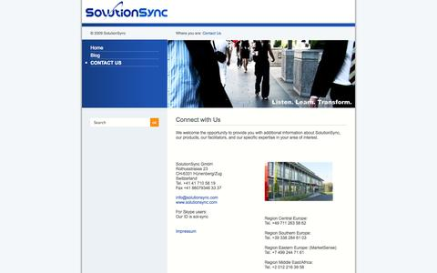 Screenshot of Contact Page solutionsync.com - Contact Us - - captured Oct. 7, 2014