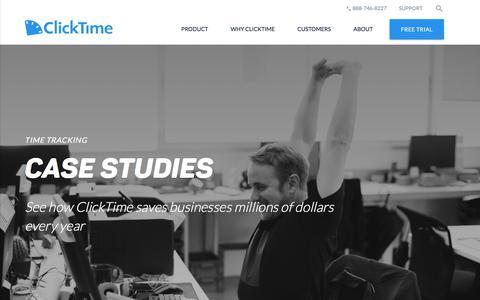 Screenshot of Case Studies Page clicktime.com - Time Tracking Case Studies | ClickTime - captured Sept. 22, 2017