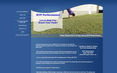 Screenshot of Testimonials Page rypperformance.com - RYP Performance - captured Sept. 30, 2014