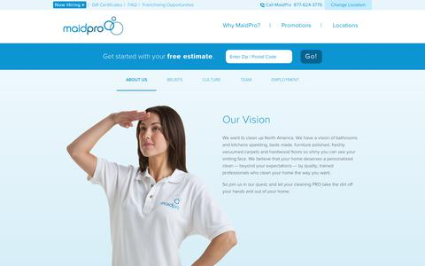 Screenshot of About Page maidpro.com - Cleaning Company | About MaidPro - captured July 14, 2018