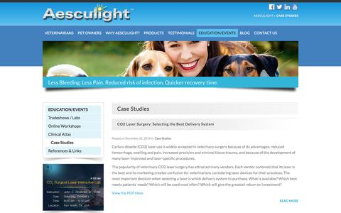 Screenshot of Case Studies Page aesculight.com - Case Studies Archives - Aesculight - captured July 24, 2016