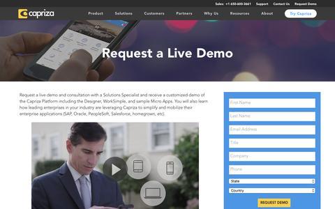 Screenshot of Demo Page capriza.com - Request a Demo | Capriza - captured Aug. 4, 2017