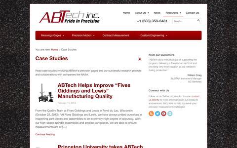 Screenshot of Case Studies Page abtechmfg.com - Case Studies - ABTech - captured Oct. 4, 2014
