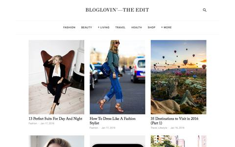 Screenshot of Blog bloglovin.com - Bloglovin'—the Edit - captured Jan. 17, 2016