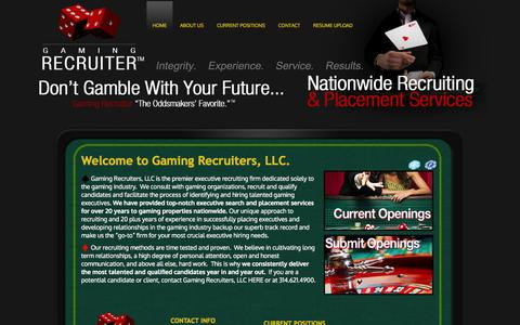 Screenshot of Home Page jewottowa.com - Gaming Recruiters LLC: The Odds Makers' Favorite. Nationwide Gaming Recruiting and Placement Services. - captured Oct. 3, 2014