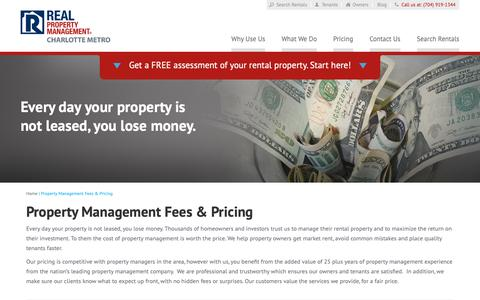 Screenshot of Pricing Page rpmcm.com - Property Management Fees Charlotte NC | Real Property Management Charlotte Metro - captured Oct. 18, 2018