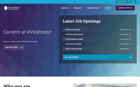 Screenshot of Jobs Page evestment.com - eVestment Open Positions: Build a career in FinTech - captured Feb. 3, 2020