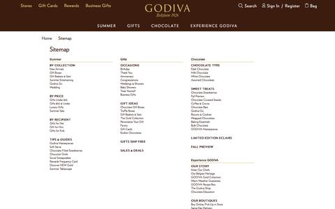 Screenshot of Site Map Page godiva.com - Godiva Chocolatier Sitemap | GODIVA - captured Aug. 20, 2017