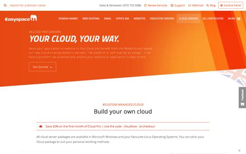 Screenshot of Products Page easyspace.com - Cloud Servers - captured Sept. 3, 2017