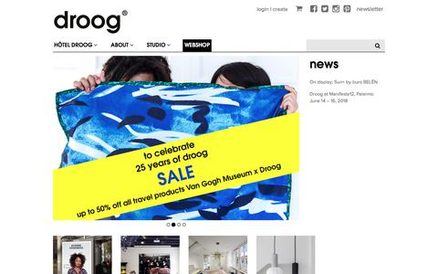 Screenshot of Home Page droog.com - Droog − a different perspective on design - captured Aug. 8, 2018