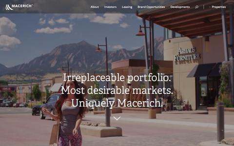 Screenshot of Home Page macerich.com - Macerich   Home - captured Dec. 7, 2015