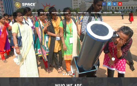 Screenshot of Home Page space-india.com - SPACE India - |Astronomy Education in India|Astronomy Clubs in Schools|Astronomy Workshops|NASA Tours| - captured Nov. 19, 2018