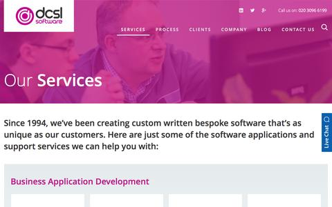 Screenshot of Services Page dcslsoftware.com - Bespoke Software Development Services | DCSL Software - captured Feb. 8, 2016