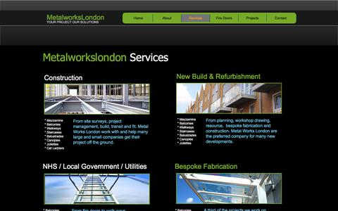 Screenshot of Services Page metalworkslondon.co - Architectural and structural metal works - captured July 26, 2018