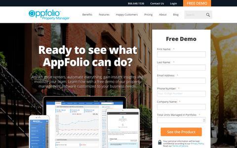 Screenshot of FAQ Page Trial Page appfolio.com - Sign Up for a Free Demo | AppFolio - captured April 8, 2018