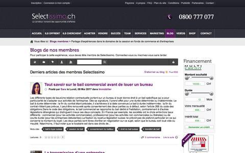 Screenshot of Blog selectissimo.ch - Derniers articles des membres Selectissimo - Partage d'expériences dans le domaine de la cession en fonds de commerce et d'entreprises - captured May 11, 2017