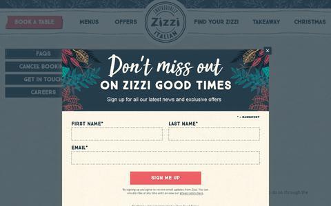 Screenshot of FAQ Page zizzi.co.uk - Contact Us | Zizzi - captured Dec. 7, 2018