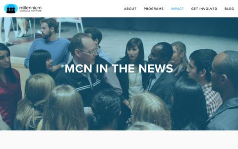 Screenshot of Press Page mcnpartners.org - MCN in the News — Millennium Campus Network - captured Oct. 19, 2017