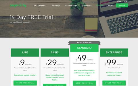 Screenshot of Pricing Page pagerduty.com - 14 Day FREE Trial - PagerDuty - captured July 3, 2016