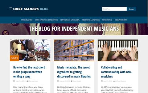 Screenshot of Blog discmakers.com - Music Promotion For Independent Musicians   Disc Makers Blog - captured Aug. 7, 2018