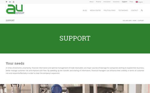 Screenshot of Support Page au-group.com - Support - AU Group - captured Nov. 4, 2018