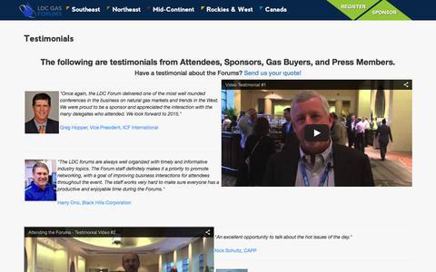 Screenshot of Testimonials Page ldcgasforums.com - Testimonials - LDC Gas Forums - captured Dec. 5, 2015