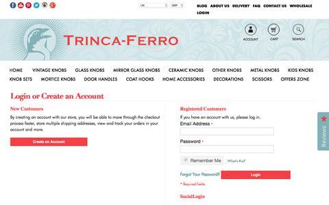 Screenshot of Login Page trinca-ferro.com - Customer Login - captured Dec. 16, 2016