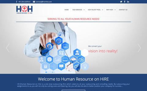 Screenshot of Home Page hronhire.com - HR On Hire virtual staff and human resource provider - captured Jan. 26, 2015