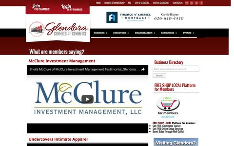 Screenshot of Testimonials Page glendora-chamber.org - Glendora Chamber of Commerce - captured Nov. 7, 2016