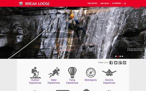 Screenshot of Home Page breakloose.com.au - Break Loose   Book Adventure Tours   Adventure Gift Ideas - captured June 18, 2015