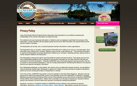 Screenshot of Privacy Page lowdpoa.com - Privacy Policy «  Lake of the Woods District Property Owners Association - captured Oct. 1, 2014