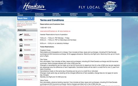 Screenshot of Terms Page hawkair.ca - Terms and Conditions | Hawkair - captured Oct. 2, 2014