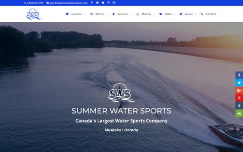 Screenshot of Home Page summerwatersports.com - Summer Water Sports | Water Sports in Muskoka, Ontario - captured Sept. 21, 2018