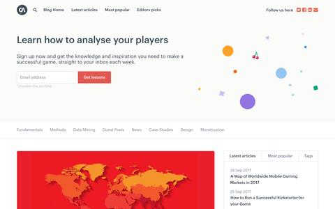 Screenshot of Blog gameanalytics.com - GameDev News, Tutorials & Interviews - GameAnalytics - captured Sept. 28, 2017