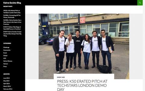 Screenshot of Press Page kairossociety.org - Kairos Society blog - captured Sept. 18, 2014