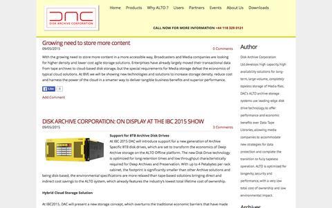 Screenshot of Press Page diskarchive.com - Disk Archive Corporation - News - captured Feb. 9, 2016