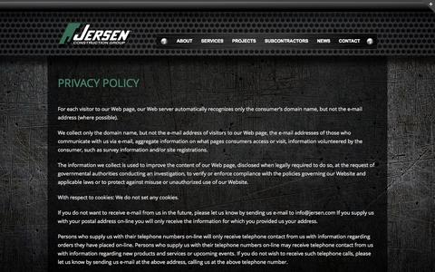 Screenshot of Privacy Page jersen.com - Privacy Policy - Jersen Construction - captured Oct. 6, 2014