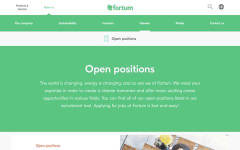 Screenshot of Jobs Page fortum.com - Open positions | Fortum - captured June 2, 2018