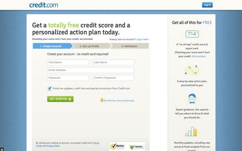 Screenshot of Signup Page credit.com - Get your Free Credit Report Card - No Credit Card Required | Credit.com - captured Sept. 18, 2014