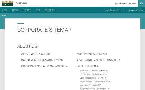 Screenshot of Site Map Page martincurrie.com - Corporate sitemap | Martin Currie - captured Nov. 27, 2016