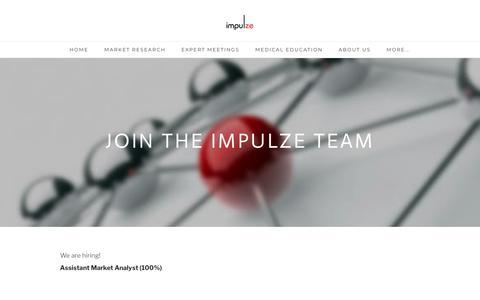 Screenshot of Jobs Page impulze.ch - Careers - impulze CH - captured Oct. 13, 2018