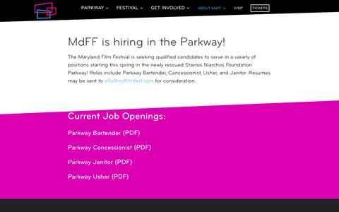 Screenshot of Jobs Page mdfilmfest.com - Jobs - MdFF - captured Oct. 1, 2017
