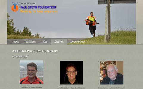 Screenshot of About Page paulsteynfoundation.org.za - about The Paul steyn Foundation - captured Dec. 7, 2015